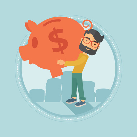 Successful young caucasian hipster businessman with the beard holding a big piggy bank on the background of stacks of coins. Vector flat design illustration in the circle isolated on background.
