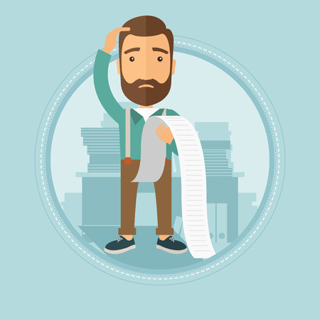 A frightened young caucasian hipster businessman with the beard holding a long bill in office. Concept of business bankruptcy. Vector flat design illustration in the circle isolated on background.