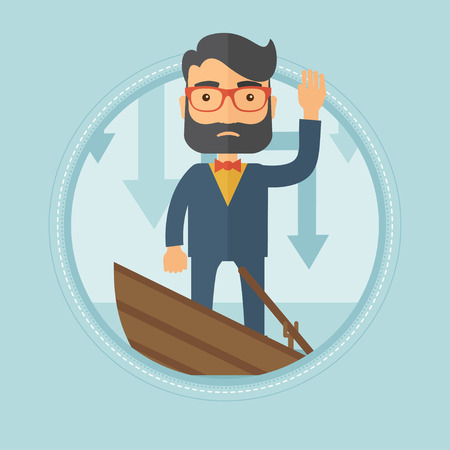 Scared young caucasian hipster businessman with beard standing in a sinking boat and asking for help. Business bankruptcy concept. Vector flat design illustration in the circle isolated on background.