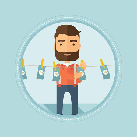 counterfeit: Smiling caucasian hipster businessman with the beard drying dollar bills on clothesline. Concept of illicit money laundering. Vector flat design illustration in the circle isolated on background.
