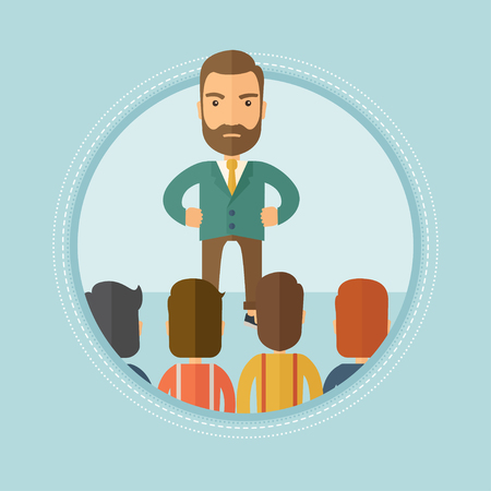 firing: Angry hipster businessman with the beard talking with his employees during a business meeting. Aggressive boss firing his workers. Vector flat design illustration in the circle isolated on background. Illustration