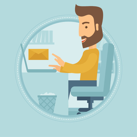 sending: Hipster businessman with beard working on his laptop in office and receiving or sending email. Business technology, email concept. Vector flat design illustration in the circle isolated on background.