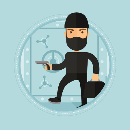 heist: Caucasian robber in black costume and mask with hand gun and bag in hands standing near big safe door. Man stealing money in bank. Vector flat design illustration in the circle isolated on background.