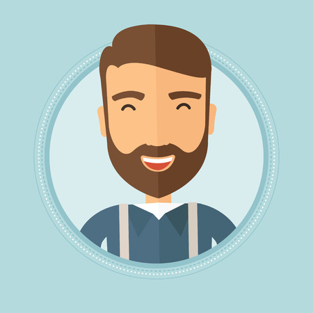 Young cheerful caucasian hipster man with the beard laughing ecstatically. Vector flat design illustration in the circle isolated on background. Çizim