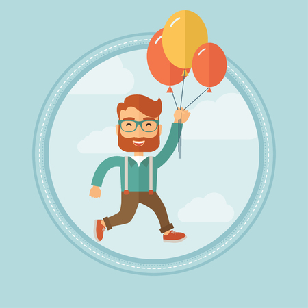 caucasians: Young successful caucasian hipster businessman with beard flying up away on bunch of colorful balloons. Business success concept. Vector flat design illustration in the circle isolated on background.