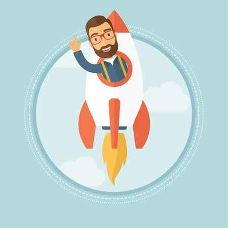 Cheerful caucasian hipster businessman with beard pointing finger up while flying in rocket. Successful business start up concept. Vector flat design illustration in the circle isolated on background.