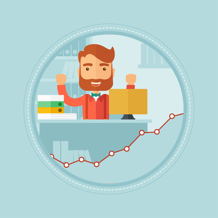 Young cheerful caucasian hipster businessman with the beard sitting at workplace in office and enjoying his success in business. Vector flat design illustration in the circle isolated on background. Illustration