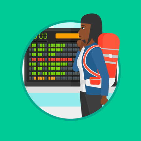 departure board: An african woman looking at departure board at the airport. Passenger standing at the airport in front of the departure board. Vector flat design illustration in the circle isolated on background. Illustration