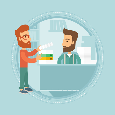 paper work: Unhappy caucasian hipster worker sitting in workplace at office and receiving a lot of paper work from his happy boss or colleague. Vector flat design illustration in the circle isolated on background