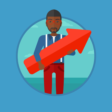 An african-american businessman standing with a big red arrow in hands. Man holding arrow pointing up. Business success concept. Vector flat design illustration in the circle isolated on background.