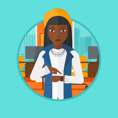 African-american angry woman standing in the office and pointing at wrist watch. Business woman angry for being late of employee. Vector flat design illustration in the circle isolated on background.