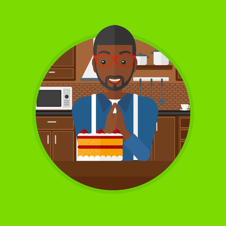 African man looking with passion at big cake. Man standing in front of delicious cake in the kitchen. Man craving delicious cake. Vector flat design illustration in the circle isolated on background.
