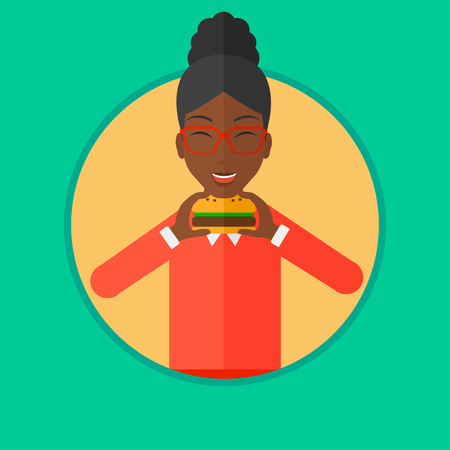 An african-american woman eating hamburger. Woman with eyes closed craving hamburger. Woman is about to eat delicious hamburger. Vector flat design illustration in the circle isolated on background. Ilustração