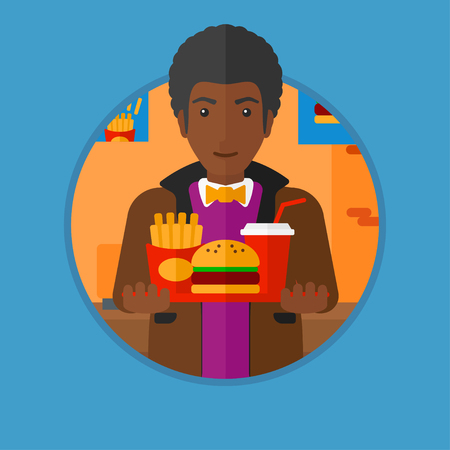 deep fried: An african-american man holding tray full of junk food. Man in fast food restaurant. Man having lunch in a fast food restaurant. Vector flat design illustration in the circle isolated on background.