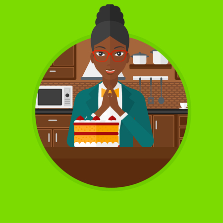 poor diet: An african-american happy woman looking with passion at a big cake. Woman standing in front of delicious cake in the kitchen. Vector flat design illustration in the circle isolated on background.