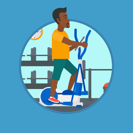flywheel: An african-american young man exercising on elliptical trainer. Man working out using elliptical trainer at the gym. Vector flat design illustration in the circle isolated on background.