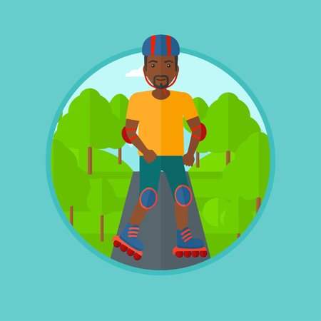 rollerskates: An african-american man on roller-skates in the park. Full length of sportsman in protective sportwear on rollers skating outdoors. Vector flat design illustration in the circle isolated on background Illustration