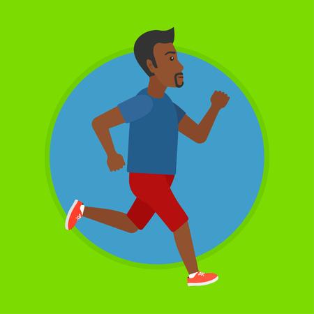 Een Afro-Amerikaanse man lopen. Mannelijke runner joggen. Volledige lengte van een mannelijke atleet lopen. Sportman in sportkleding running. Vector platte ontwerp illustratie in de cirkel geïsoleerd op de achtergrond.