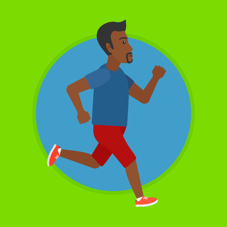 An african-american man running. Male runner jogging. Full length of a male athlete running. Sportsman in sportswear running. Vector flat design illustration in the circle isolated on background.