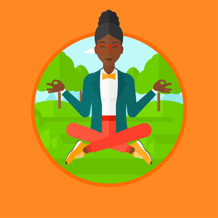 mujer meditando: An african-american woman meditating in yoga lotus position outdoor. Business woman relaxing in the park in the lotus position. Vector flat design illustration in the circle isolated on background. Vectores