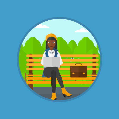 laptop outside: An african-american business woman working in the park. Woman working on a laptop. Business woman sitting on a bench with laptop. Vector flat design illustration in the circle isolated on background.