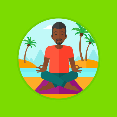 man meditating: An african-american man meditating in yoga lotus pose on the beach. Young man relaxing on the beach in the yoga lotus position. Vector flat design illustration in the circle isolated on background.