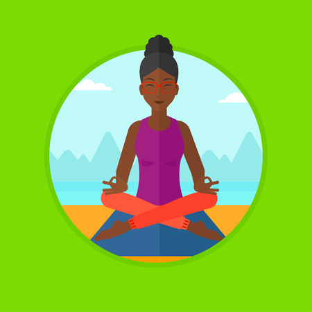 mujer meditando: An african-american woman meditating in yoga lotus pose. Woman relaxing in the yoga lotus position. Woman doing yoga on nature. Vector flat design illustration in the circle isolated on background.