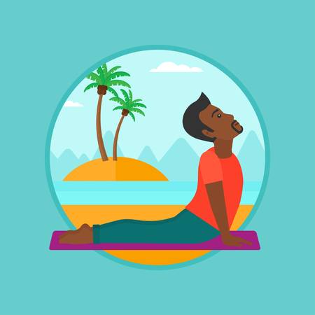 An african-american man practicing yoga upward dog pose. Man meditating in yoga upward dog position on the beach. Man doing yoga. Vector flat design illustration in the circle isolated on background. Illustration