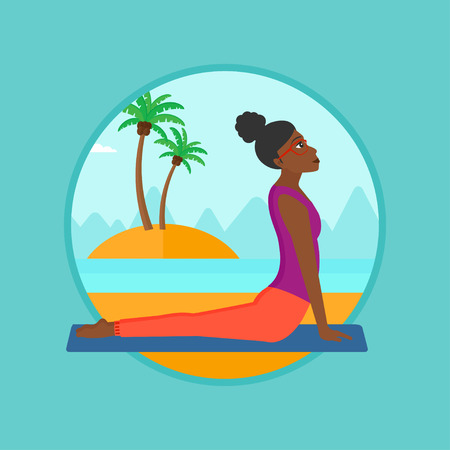 yoga outside: An african woman practicing yoga upward dog position. Woman meditating in yoga upward dog position on the beach. Woman doing yoga. Vector flat design illustration in the circle isolated on background.