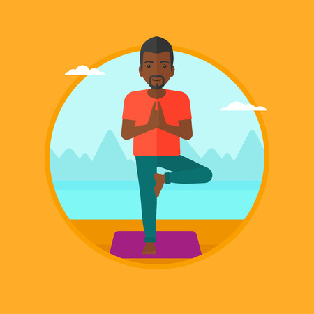 yoga outside: An african-american man standing in yoga tree pose. Man meditating in yoga tree position on beach. Man doing yoga on nature. Vector flat design illustration in the circle isolated on background.