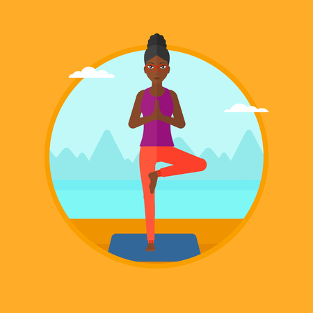 An african-american woman standing in yoga tree position. Woman meditating in yoga tree position on the beach. Woman doing yoga. Vector flat design illustration in the circle isolated on background. Illustration