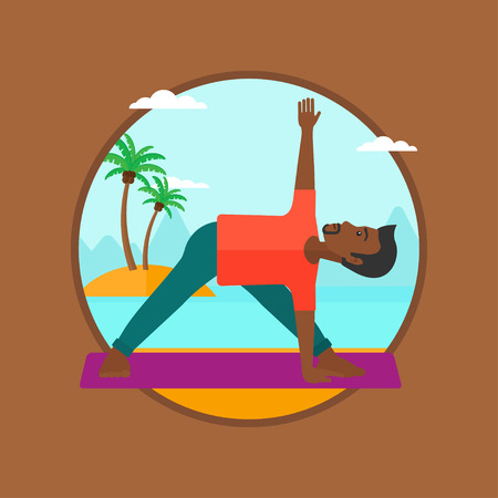 An african-american man standing in yoga triangle pose. Man meditating in yoga triangle position on the beach. Man doing yoga. Vector flat design illustration in the circle isolated on background. Illustration