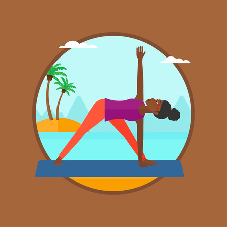 yoga outside: An african-american woman standing in yoga triangle position. Woman meditating in yoga triangle position on beach. Woman doing yoga.Vector flat design illustration in the circle isolated on background