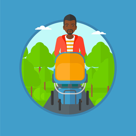 An african father walking with baby stroller in the park. Father walking with his baby in stroller. Father pushing baby stroller. Vector flat design illustration in the circle isolated on background.