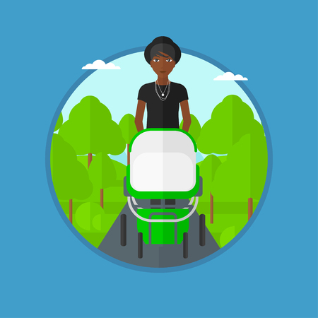An african mother walking with baby stroller in the park. Mother walking with her baby in stroller. Mother pushing baby stroller. Vector flat design illustration in the circle isolated on background. Illustration