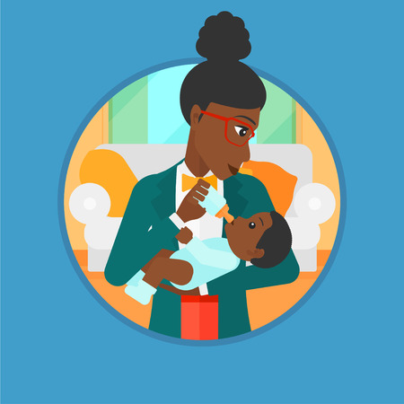 An african-american mother feeding baby boy with a milk bottle. Mother feeding newborn baby at home. Baby boy drinking milk. Vector flat design illustration in the circle isolated on background. Illustration