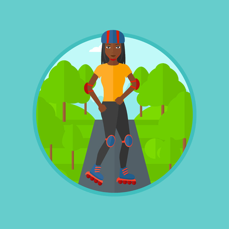 rollerskates: An african-american young woman on roller-skates in the park. Sports woman in protective sportwear on rollers skating outdoors. Vector flat design illustration in the circle isolated on background.