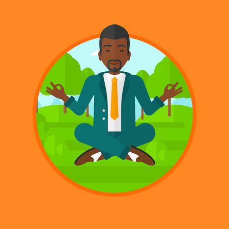 man meditating: An african-american businessman meditating in yoga lotus position. Businessman relaxing in the park in the lotus position. Vector flat design illustration in the circle isolated on background. Illustration