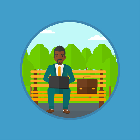 laptop outside: An african-american businessman working in the park. Man working on a laptop. Businessman sitting on a bench with laptop. Vector flat design illustration in the circle isolated on background. Illustration
