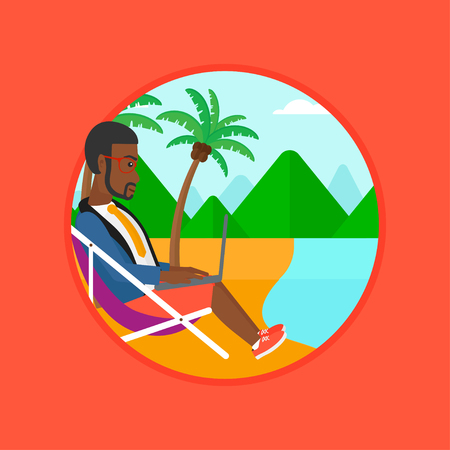 laptop outside: An african-american young businessman working on the beach. Businessman sitting in chaise lounge and working on a laptop. Vector flat design illustration in the circle isolated on background. Illustration