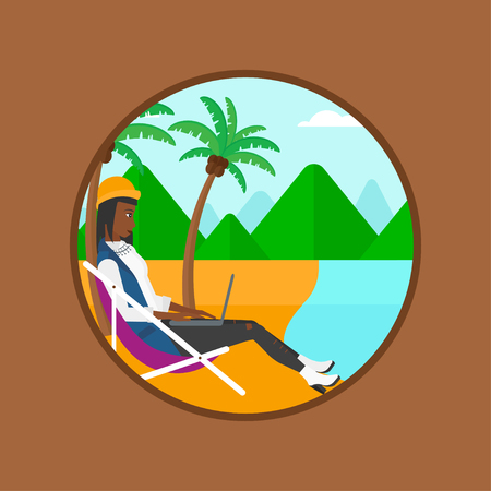 business woman laptop: An african-american business woman sitting in chaise lounge and working on a laptop. Woman with laptop relaxing on the beach. Vector flat design illustration in the circle isolated on background.