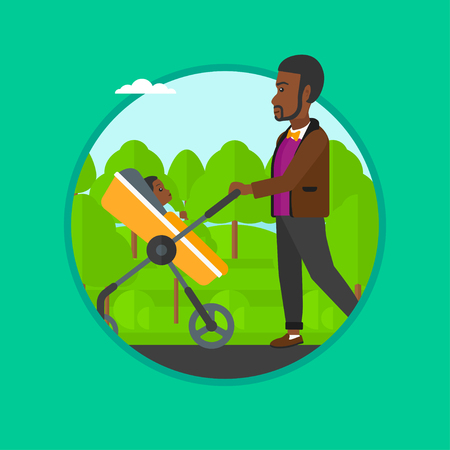 African-american father walking with baby stroller in the park. Father walking with baby in stroller. Father pushing baby stroller. Vector flat design illustration in the circle isolated on background Illustration