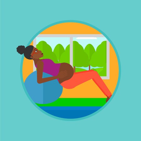 An african pregnant woman doing exercises with ball. Pregnant woman doing exercises lying on fitball. Woman exercising on fitball. Vector flat design illustration in the circle isolated on background.