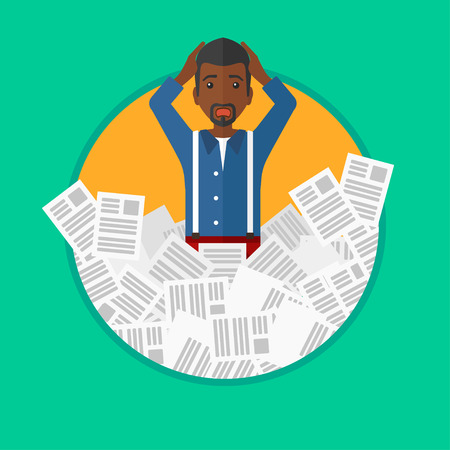An african-american stressed man clutching his head because of having a lot of work to do. Busy businessman with lots of papers. Vector flat design illustration in the circle isolated on background.