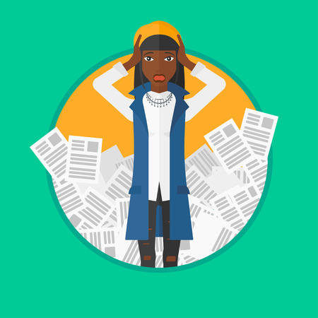 African-american business woman clutching her head because of having a lot of work to do. Busy business woman with lots of papers. Vector flat design illustration in the circle isolated on background.