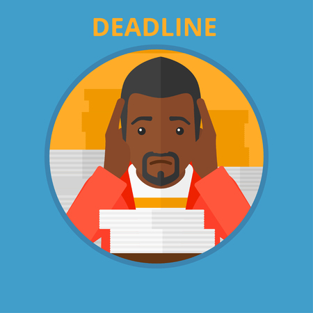 An african stressed businessman sitting at the table with stacks of papers and having problem with deadline. Deadline concept. Vector flat design illustration in the circle isolated on background.