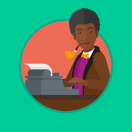 article writing: An african-american journalist writing an article on a vintage typewriter and smoking pipe. Man working on retro typewriter. Vector flat design illustration in the circle isolated on background. Illustration