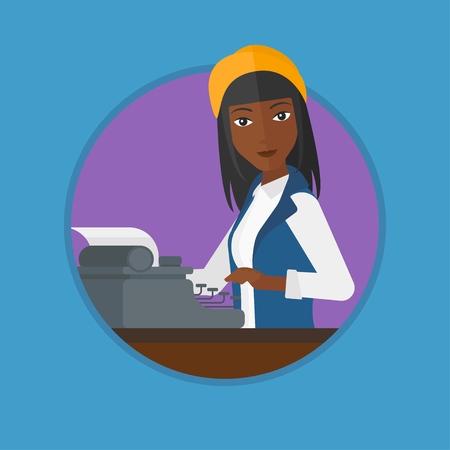 An african-american journalist writing an article on a vintage typewriter. Woman working on retro typewriter and smoking pipe. Vector flat design illustration in the circle isolated on background.