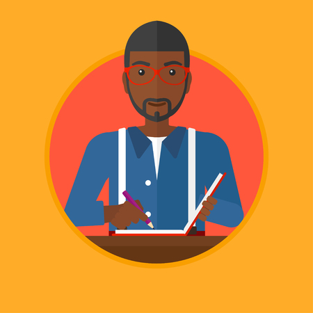 article writing: An african-american journalist sitting at the table and writing in notebook with pencil. Young smiling journalist at work. Vector flat design illustration in the circle isolated on background.