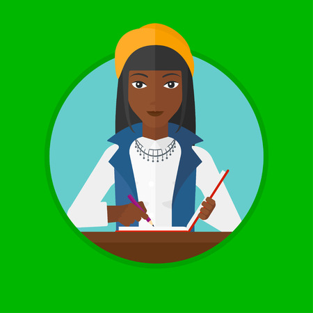 An african-american female journalist sitting at the table and writing in notebook with pencil. Young female journalist at work. Vector flat design illustration in the circle isolated on background. Illustration
